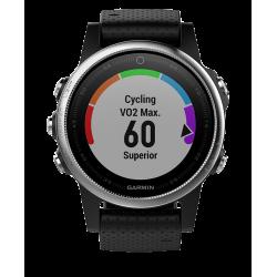 Спортивные часы FENIX 5S серебристые с черным ремешком
